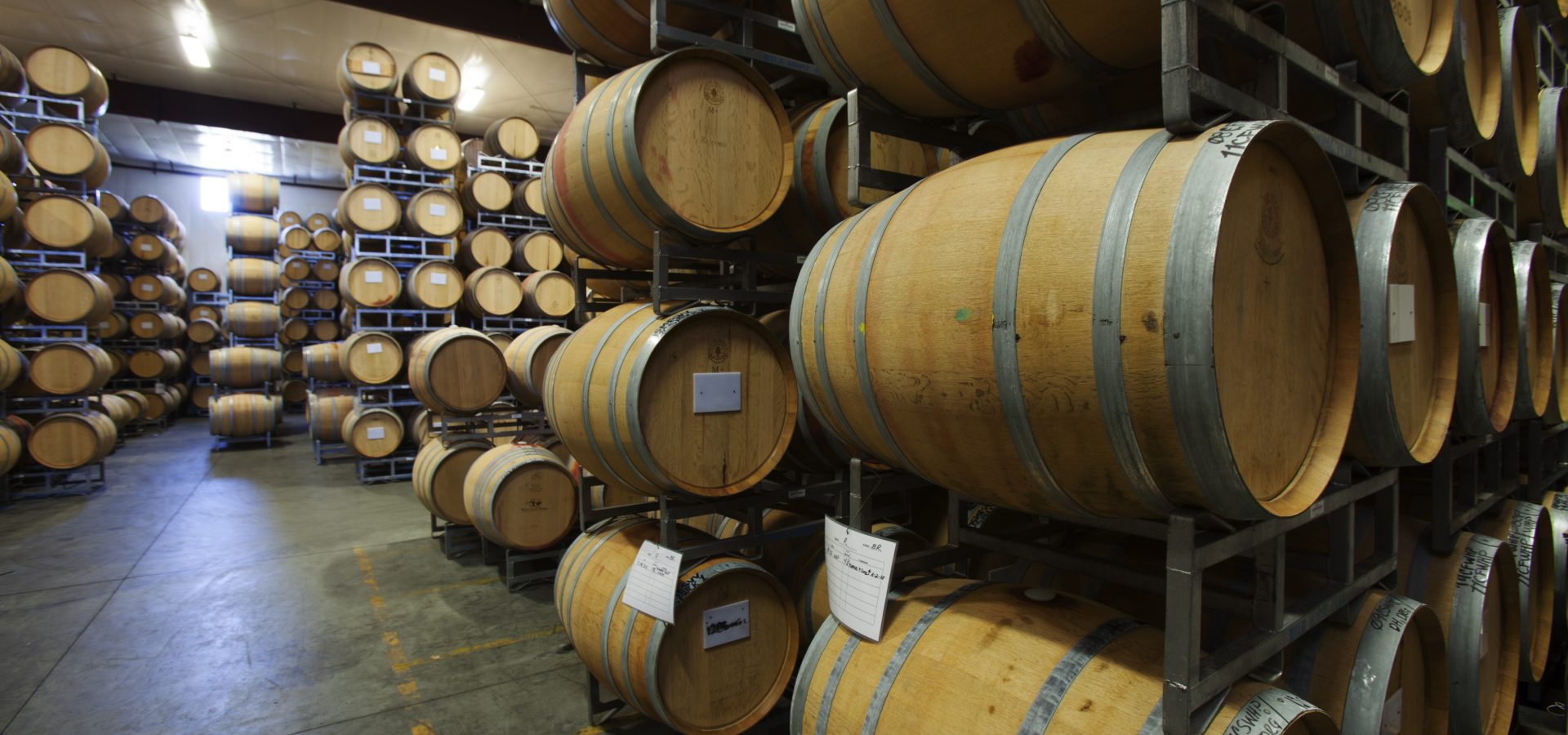 Wine barrels all lined up at South Coast Winery Resort