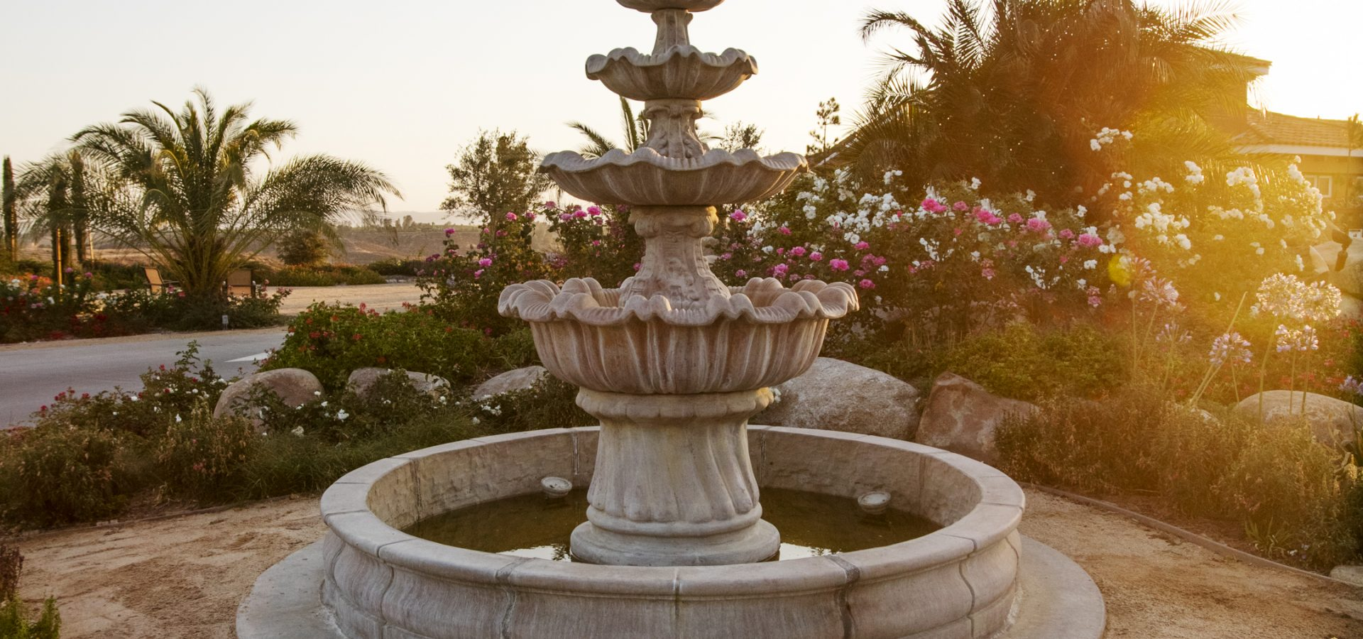 water fountain surrounded by garden landscape in Temecula