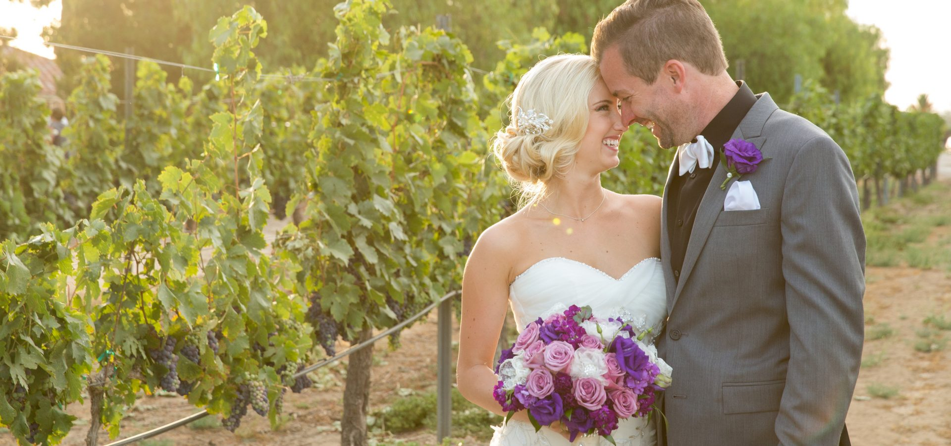 newly weds at South Coast Winery Resort Vineyard