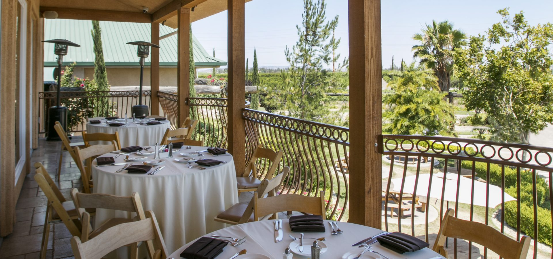 outdoor seating at South Coast Winery Resort restaurant