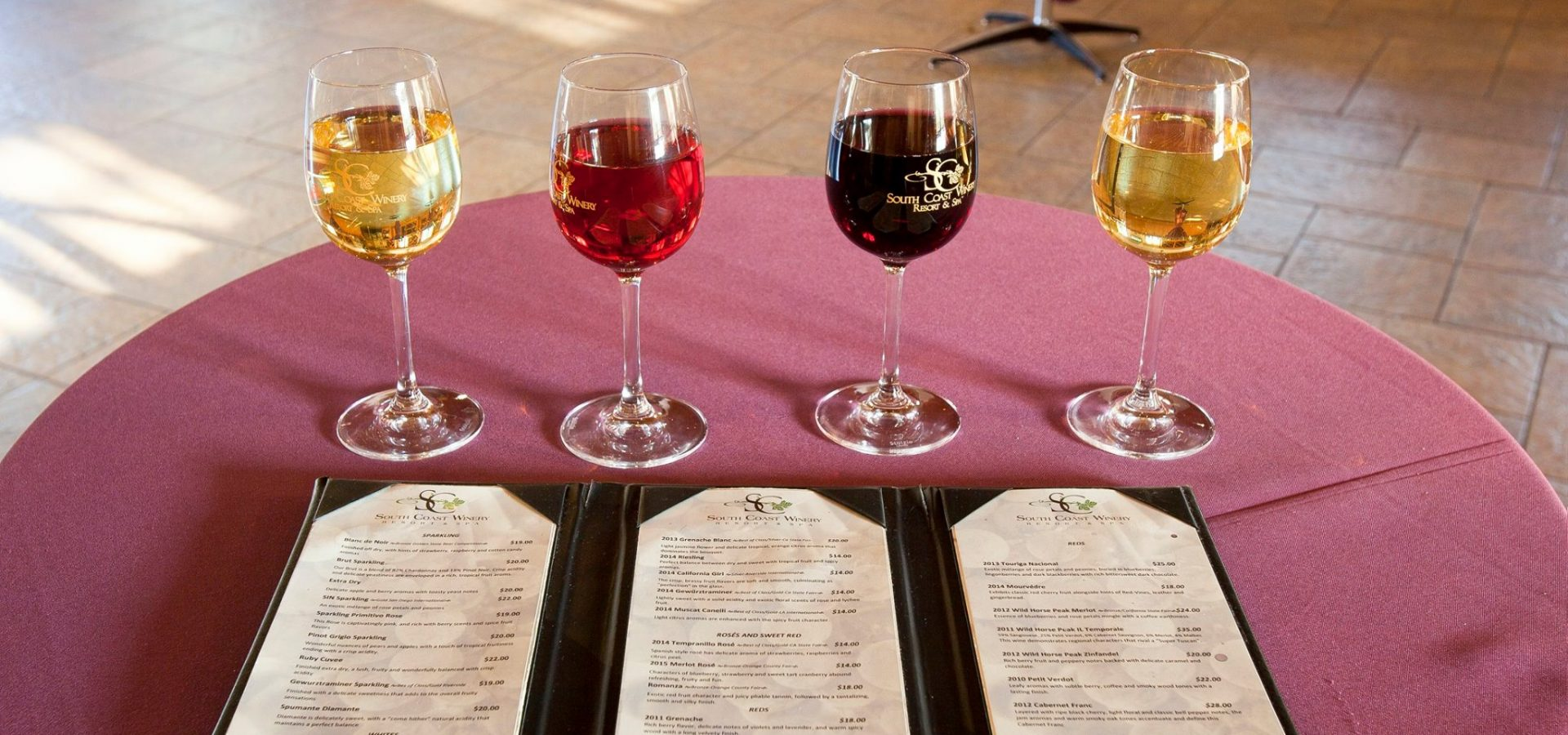 wine tasting menus at winery in Temecula california